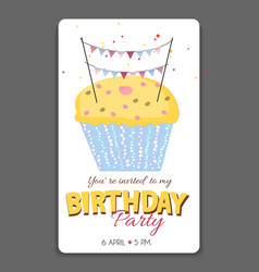 birthday party invitation card template vector image vector image