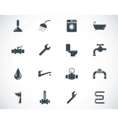 black plumbing icons set vector image vector image