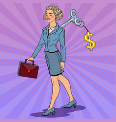 business woman with key on her back pop art vector image