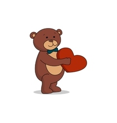 Couple lovers of teddy bears with heart in hands vector image
