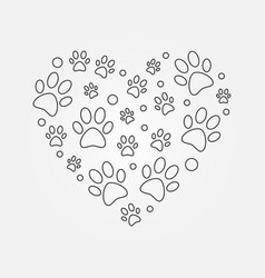 paw prints in heart shape outline vector image