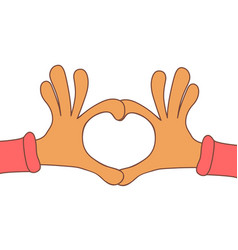 two hands making heart sign love romantic vector image