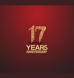 17 years golden anniversary logotype vector