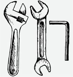 Adjustable wrench spanner vector