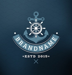 Anchor and Helm Vintage Retro Design Elements for vector