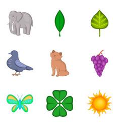 Animal life icons set cartoon style vector