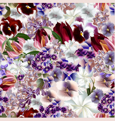 Beautiful flower pattern in realistic style vector