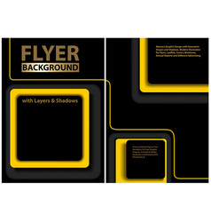 Black flyer template with yellow geometric shapes vector