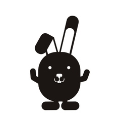 Black silhouette rabbit with up hands vector