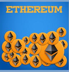 Blockchain background with ethereum symbols vector