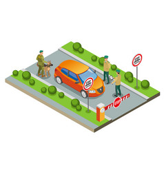 border inspection isometric composition vector image