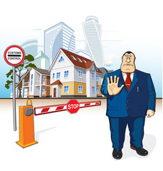 boss prohibits barrier stop sign buildings vector image