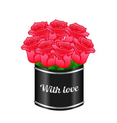 bouquet of red roses in the original box isolated vector image