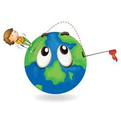 boy on earth planet vector image