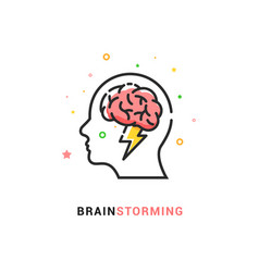 Brainstorm icon idea brain storm lighting vector