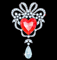 Brooch with ruby vector