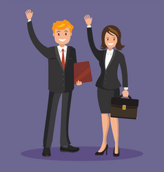 Business people in suits waving their hands vector