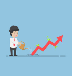 Businessman watering business graph that growth vector