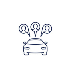 carsharing icon car and passengers line vector image