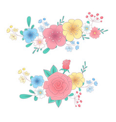 cartoon hand drawing flower bouquets set vector image
