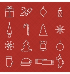 Christmas line icons set for web and holidays vector image
