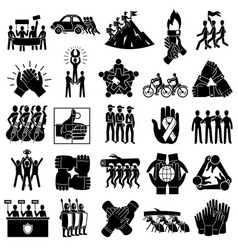 Cohesion icons set simple style vector