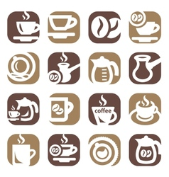color coffee icin set vector image
