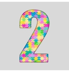 Color Puzzle Number - 2 Two Gigsaw Piece vector image