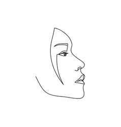 Continuous line asian female abstract portrait vector