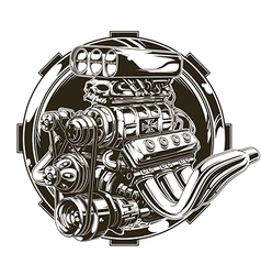Cool detailed hot road engine with skull tattoo vector image