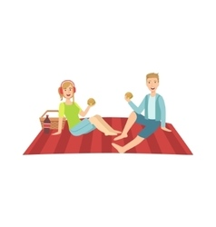 Couple Of Friends On Picnic vector image