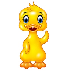 Cute baby duck hand waving isolated vector