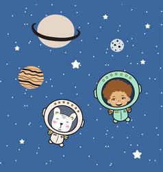 Cute boy astronaut and bear cartoon kids vector