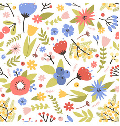 cute floral seamless pattern with blooming spring vector image