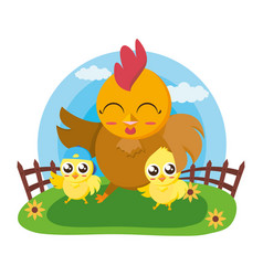 cute hen and chicks vector image