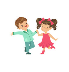 Cute smiling little boy and girl dancing vector
