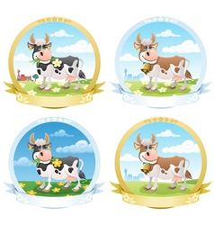 dairy products labels vector image