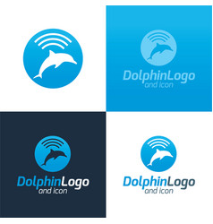 Dolphin logo and icon vector