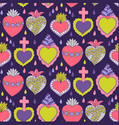 Doodle sacred heart seamless pattern vector