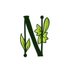 Doodling eco alphabet letter ntype with leaves vector