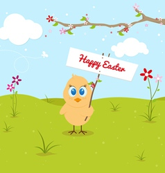 Easter chicken with signboard and clouds vector