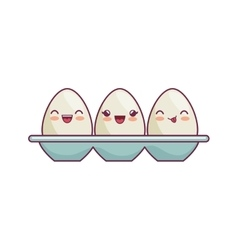 Eggs container kawaii style isolated icon vector