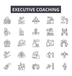 Executive coach line icons for web and mobile vector