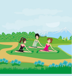 Exercises in the park vector