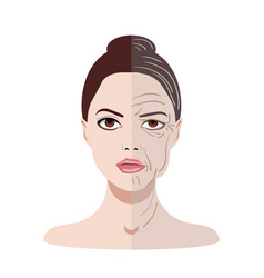 face with two types of skin young and old vector image vector image