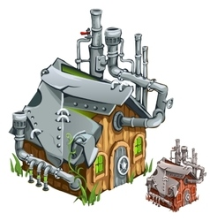 Factory in wooden private house Cartoon style vector image