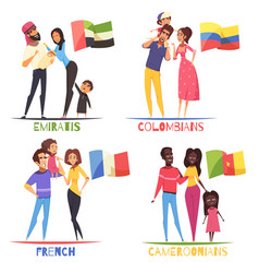 Families nationalities design concept vector