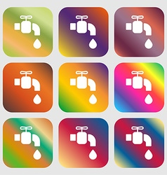 faucet icon sign Nine buttons with bright vector image