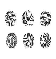 fingerprint icon set police scanner thumb vector image
