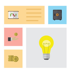 flat icon incoming set of diagram strongbox cash vector image